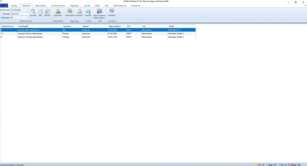 NoRA advanced Screenshot Adressen