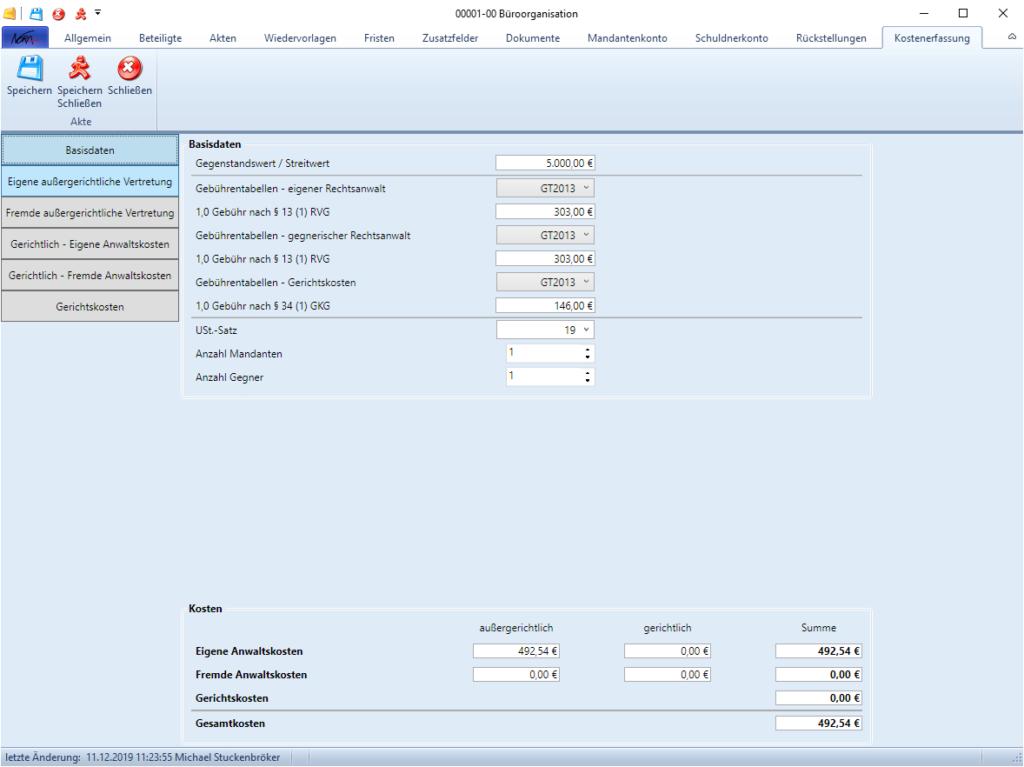 Screenshot NoRA Advanced Kostenerfassung