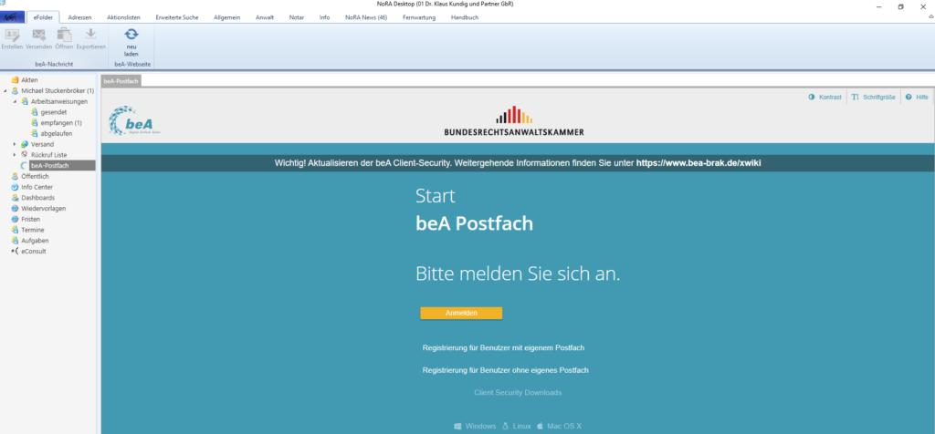 NoRA Advanced CM für Verbände und Kammern: beA