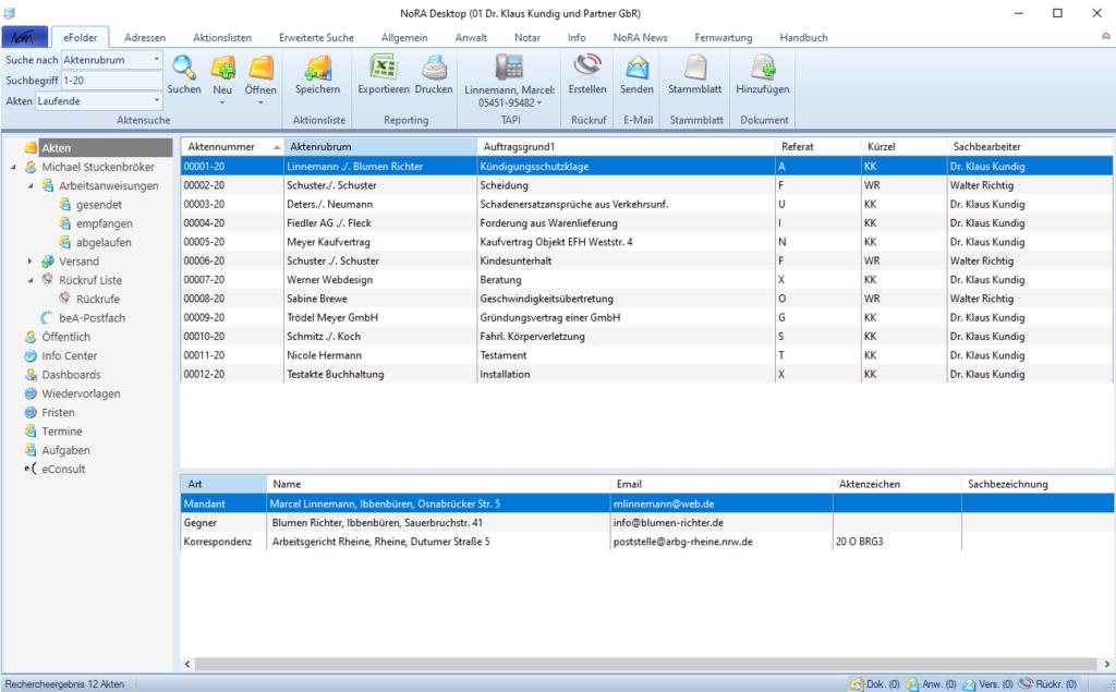 Highlights für den Anwalt - NoRA Desktop